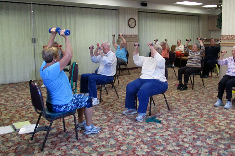 residents in exercise class